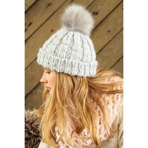 f11a8d9b5 Soft rib knit beanie with faux rabbit fur Pompom Boutique
